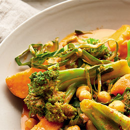 Greens and Chickpea Curry Bowl