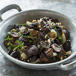 Balsamic-Roasted Mushrooms with Shallots and Toasted Marcona Almonds