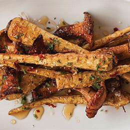 Roasted Baby Parsnips with Sherry-Maple Glaze and Chanterelles